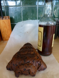 This years Christmas cake in the shape of a Christmas tree..... and a bottle of brandy. Perfect partners in crime.
