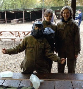 Emily, Theresa and George, all kitted up for Paintballing.