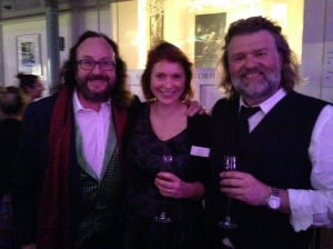 Snuggling close to the very slim Hairy Bikers.