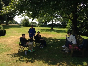 Picnic lunch under the tree at Petworth.