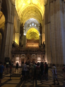 Inside the Seville Cathedral. Even if you're not religious it's an amazing place...loads of gold though.