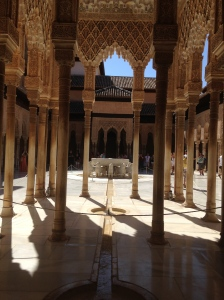 One of the courtyards in The Alhambra. Don't sit down in the wrong place otherwise you'll get told off.