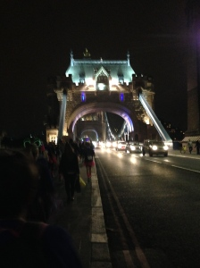 Tower Bridge at night. Fortunately it was down, so we didn't have to jump.