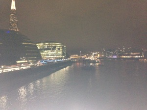 A view of the Thames at night. See the Shard in the top left. Gives you some idea of how far we walked.