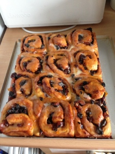 Chelsea Buns with orange icing, yummy!!
