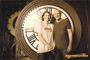 """Great Scott!!"" It's Christopher Lloyd and me in front of the clock."