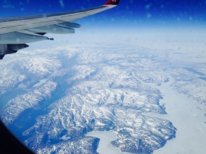 A view of Greenland from 35,000 feet up.