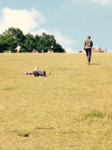 The walk back up the hill was too much for Robert, but with coaxing from George he managed it.
