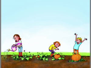 Lottie, Dottie and a mystery bot all growing Pumpkins in their next adventure.