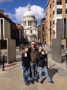 One day I'll get to ring here, but just not today. Mark and the kids in front of St Paul's.