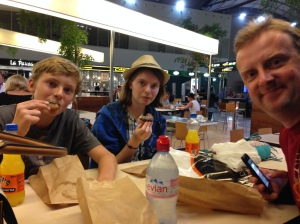 A little snack at the airport before we board out plane.