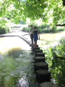 Carefully across the Stepping Stones. The water wasn't deep.